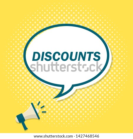 Yellow background with megaphone announcing text in speech bubble. Discount