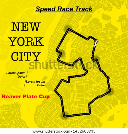 Yellow background with New York City map and race track Stock fotó ©
