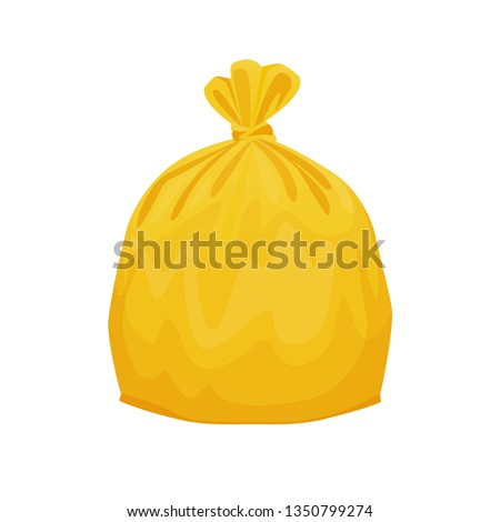 yellow bag plastic garbage isolated on white background, bin bag, garbage bags for waste, pollution plastic bag waste, 3r ad, waste plastic bags and copy space for banner advertising background
