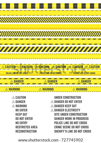yellow barrier tapes vector