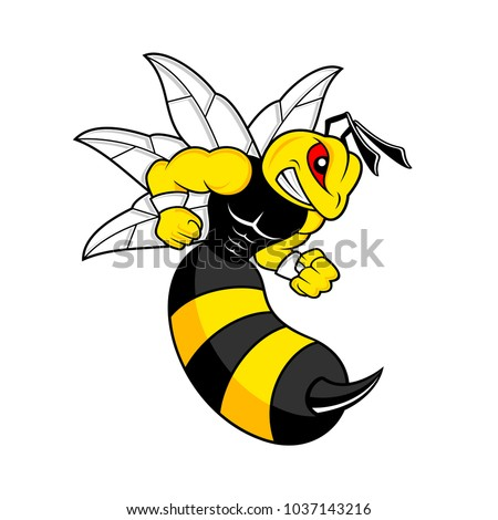 yellow bee angry ready to fight