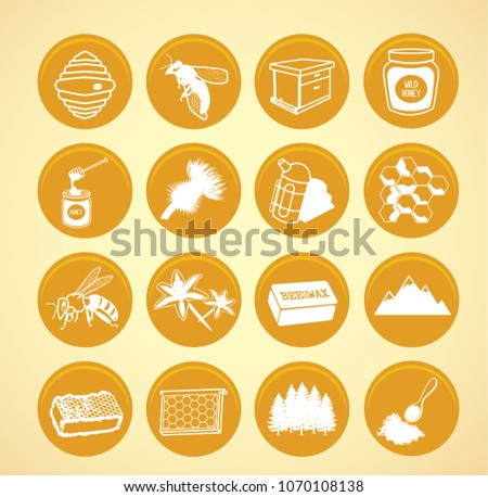 Yellow beekeeping icons.Vector illustration.