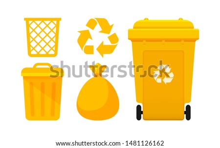 Yellow Bin Collection, Recycle Bin and Yellow Plastic Bags Waste isolated on white, Bins Yellow with Recycle Waste Symbol, Front view set of the Yellow Bins and Bag Plastic for Garbage waste, 3r Trash