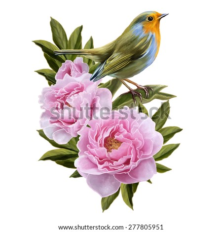 yellow bird and pink peonies