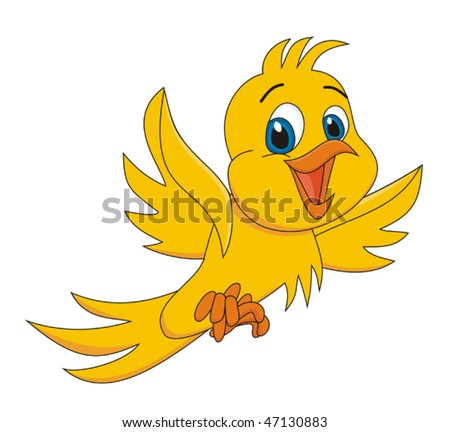Yellow bird cartoon vector illustration - stock vector