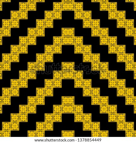yellow black Art Deco pattern in ethnic style Aztec style hipster style