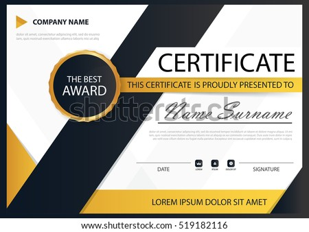 Horizontal certificate template design download free vector art yellow black elegance horizontal certificate with vector illustration white frame certificate template with clean and yelopaper Image collections