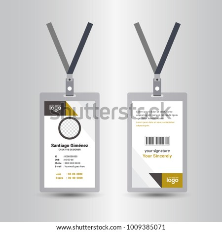 yellow & black template staff or employee identification card vector illustrations or id card