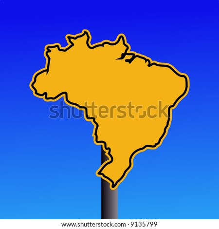 yellow Brazil map warning sign on blue illustration