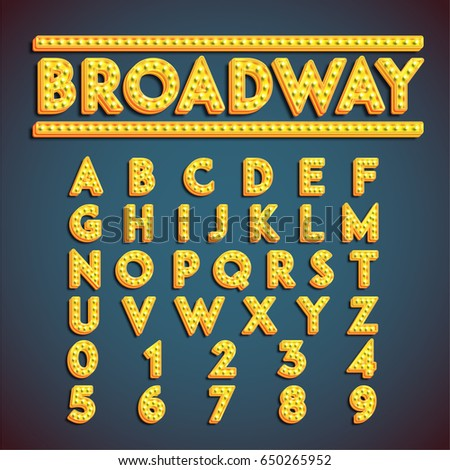 Yellow 'Broadway' font with lamps turned on, vector illustration