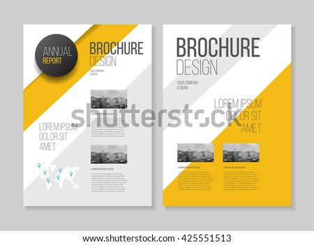 Yellow brochure cover design layout with graphic elements and place for photo background, vector template in A4 size