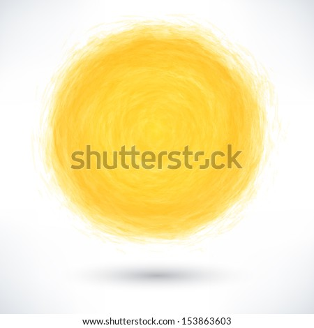 Yellow brush stroke in the form of a circle with gray drop shadow on white background. Drawing created in ink sketch handmade technique. Vector illustration clip-art design element save in 10 eps