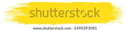 Yellow brush stroke isolated on white background. Brush stroke for yellow ink paint, grunge backdrop, dirt banner, watercolor design and dirty texture. Creative art concept, vector illustration