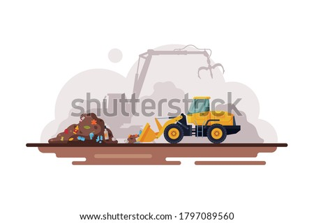 Yellow Bulldozer for Garbage Cleaning, Waste Recycling Process Flat Style Vector Illustration on White Background Stockfoto ©