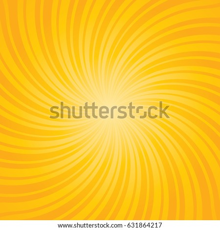 Yellow burst background. Swirling radial pattern. Vector illustration.