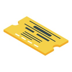 Yellow bus ticket icon. Isometric of yellow bus ticket vector icon for web design isolated on white background