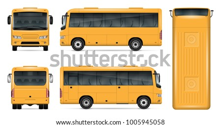 yellow bus vector mock up for