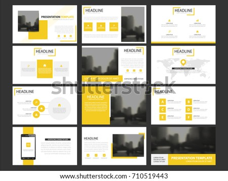 Yellow Business presentation infographic elements template set, annual report corporate horizontal brochure design template