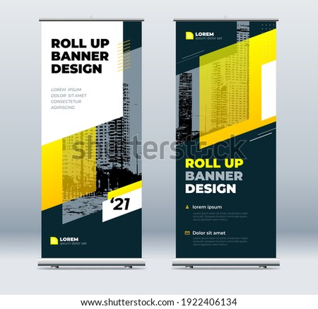 Yellow Business Roll Up Banner. Abstract Roll up background for Presentation. Vertical roll up, x-stand, exhibition display, Retractable banner stand or flag design layout for conference, forum.