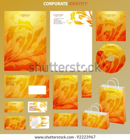 Yellow Business style template with bright floral pattern. This orange backgrounds useful for presentation, business card, envelope, bags, flyers, cd cover documents. Vector design layout with flowers