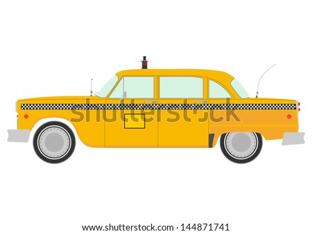 yellow cab retro silhouette on