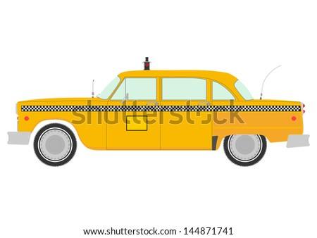 yellow cab retro silhouette on
