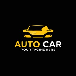 Yellow Car Logo Template with Black Background. Auto car business logo design with silhouette for Automotive Company logo, car wash, garage, service, painting. Vector Eps 10.