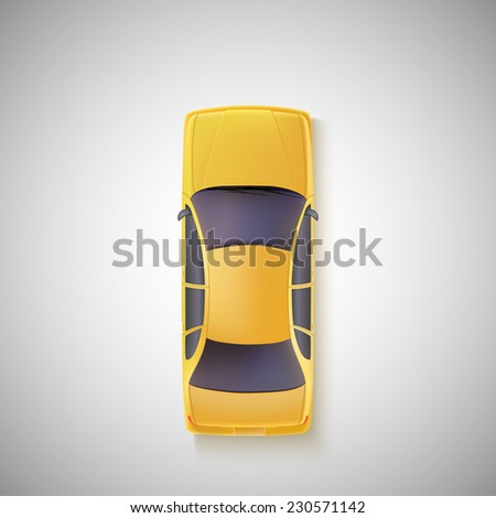 yellow car  taxi on white