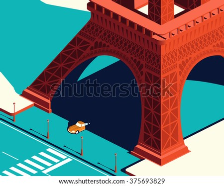 yellow car under the eiffel