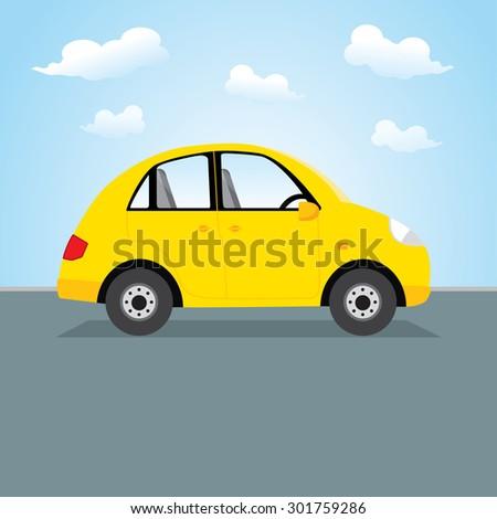 yellow car vector illustration