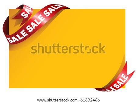Yellow card with stylish red ribbon