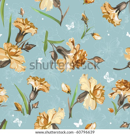 Yellow Carnations on blue background with butterflies. Floral vintage seamless pattern. - stock vector