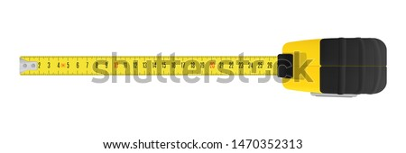 Yellow carpenter measuring tape with a metric units scale Foto stock ©
