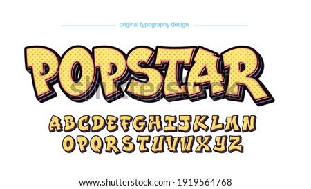 Foto mural Yellow Cartoon Graffiti Typography Text Effect