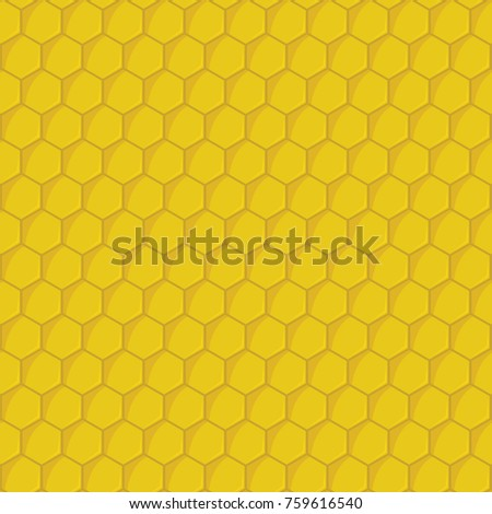 Yellow cartoon honeycomb hexagons seamless vector pattern. Background with honey comb illustration for food honey design