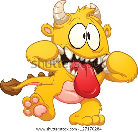 Cute Cartoon Monsters Clip Art Yellow cartoon monster.