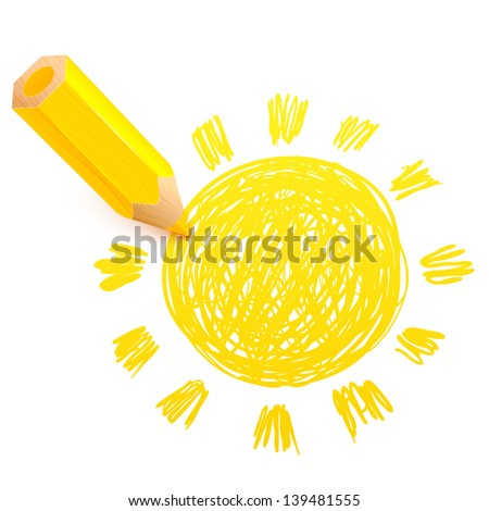 Yellow cartoon pencil with doodle sun