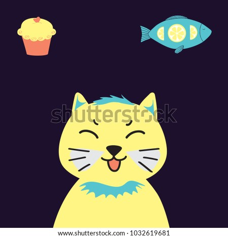 yellow cat on a blue background