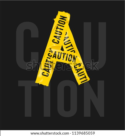 yellow cation tape forming caution word illustration #1139685059