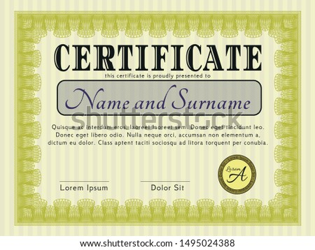 Yellow Certificate or diploma template. With guilloche pattern. Elegant design. Customizable, Easy to edit and change colors.