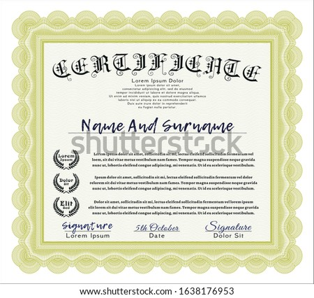 Yellow Certificate template or diploma template. Beauty design. Printer friendly. Customizable, Easy to edit and change colors.