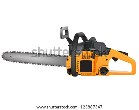 yellow chainsaw isolated on