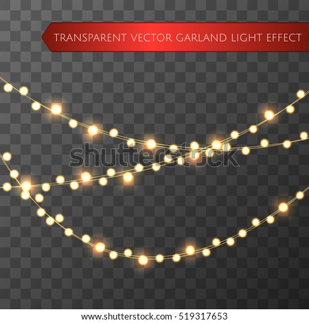Yellow christmas lights isolated realistic design elements. Glowing lights for Xmas Holiday greeting card design. Garlands, Christmas party decorations.  Beautiful light background. Vector