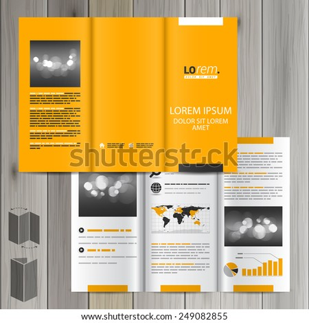 Yellow classic brochure template design with black and white square elements. Cover layout