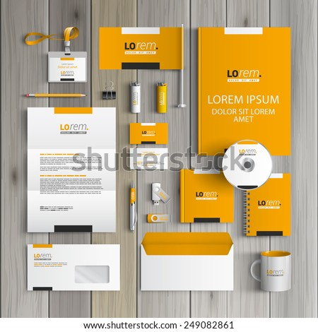 Yellow classic corporate identity template design with black and white square elements. Business stationery