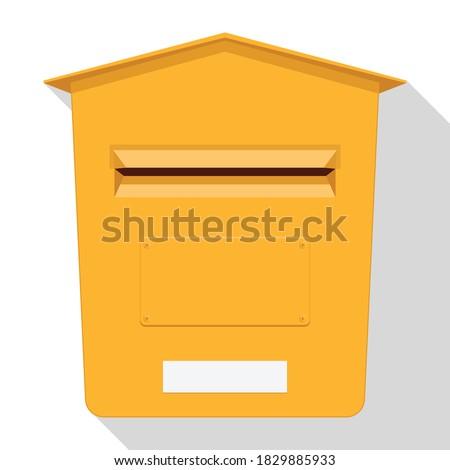 Yellow classic post box. Mail box icon. Letterbox. Vector illustration. Stock photo ©