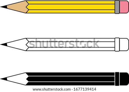 yellow color pencil with eraser, line work pencil, black & white pencil art work