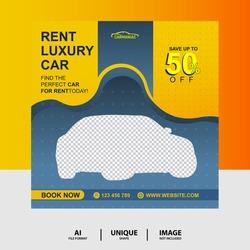 Yellow color Rent a car Social Media Post Banner