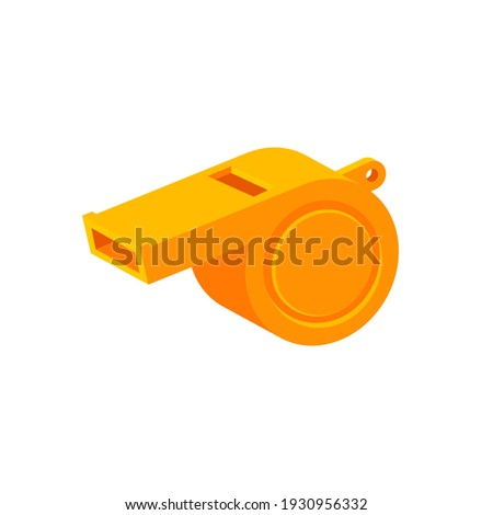 Yellow colorful whistle icon isolated on white background. Sound beep for police, referee, footbol and basketbol. Vector illustration.