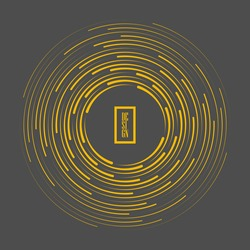 Yellow concentric speed lines in vortex form. Gray background. Geometric art. Trendy design element for frame, logo, sign, symbol, web pages, prints, posters, template, pattern and abstract background
